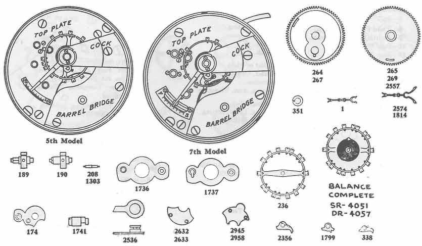 Montre Elgin Pièces 18 S Grade 73 Ressort de roue Palette solde Levier Vis Pignon