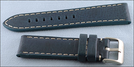 ba8197599 Navy 22 MM Extra Wide Leather Sport Strap, White Stitching with Rectangular  Holes and Heavy Duty Brushed Stainless Steel Buckle B2024-18