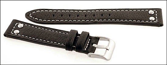 d8e491ee5 Pilot Watch Strap Genuine Leather with White Stitching, 22 MM Black