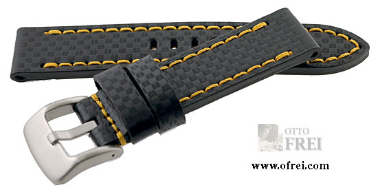 1701856ff89 Carbon Fiber Style Sport Straps 22 MM Black with Yellow Stitching