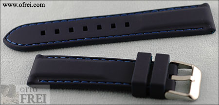 0c0065111b4 Dark Blue 22 MM Silicone Rubber Strap with Blue Stitching SKR1501BL